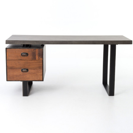 ... Office Desks Clapton Industrial Concrete + Wood Desk with File Drawer