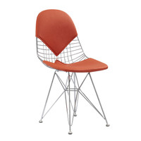 Orange Vegan Leather M245 Modern Wire Chair