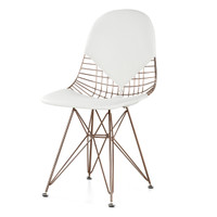 Rose Gold Wire + White Leather M245 Modern Wire Chair