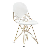 Gold Wire + White Leather M245 Modern Wire Chair