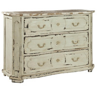 Avignon Solid Wood Vintage White 3 Drawer Chest