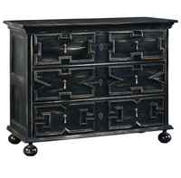 Oxford Hand Carved Distressed Black 3 Drawer Chest
