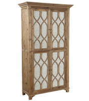 French Lattice Reclaimed Wood 2 Door Mirrored Cabinet