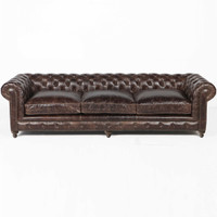 "Finn 118"" Cigar Club Leather Upholstered Chesterfield Sofa"