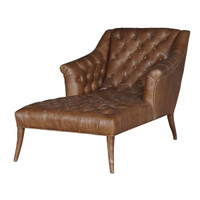 Jett Tufted Leather Library Chaise Lounger