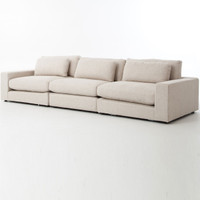 Bloor Beige Upholstered Contemporary 3 Seater Large Sofa