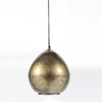 Mercury Hand Blown Glass Round Pendant-Antiqued Gold