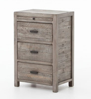 Caminito Grey Reclaimed Wood 3 Drawers Nightstand