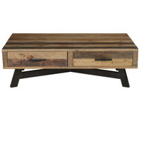 Farmhouse Reclaimed Wood Coffee Table with 2 Drawers