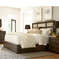 California Rustic Oak Queen Upholstered Panel Bed