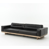 Froster Contemporary Black Leather Low Sofa