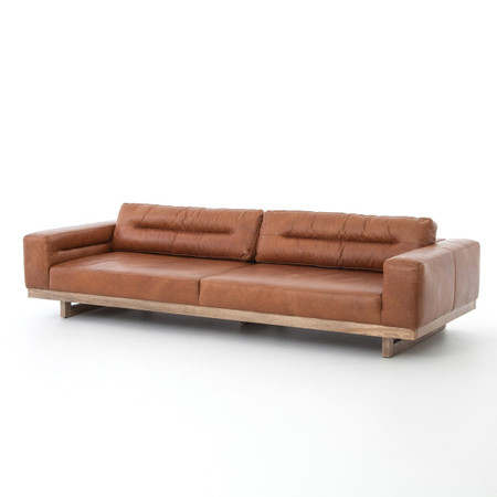 Froster Contemporary Leather Low Back Sofa Zin Home