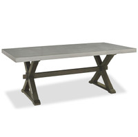 Flatiron Oak Wood + Stainless Steel X-Base Dining Table
