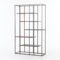 Wesson Industrial Metal + Oak Wood Bookcase