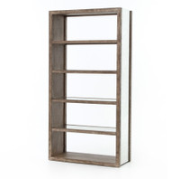 Hollywood Regency Oak Wood + Antiqued Mirror Bookcases