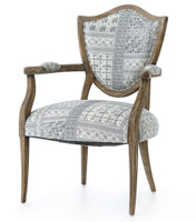 Lenny Batik Indigo Upholstered Oak Shield Back Chair