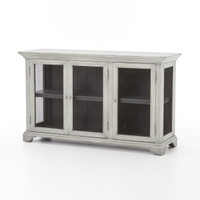 Irondale Farmhouse Grey Alder Wood 3 Door Media Cabinet