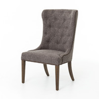 Elouise Upholstered Dining Chair with Nailheads, Charcoal