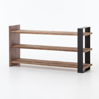 Anderson Rustic Oak Wood and Metal Open Media Console