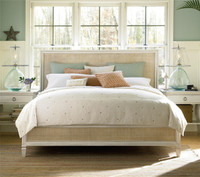 Country-Chic King Size Woven Wicker Panel Bed Frame
