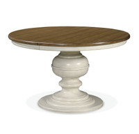 Country-Chic Maple Wood White Round Extendable Dining Table -Driftwood