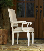 Country-Chic Woven Back Upholstered Dining Arm Chair