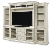 Country-Chic Maple Wood White TV Entertainment Wall Unit