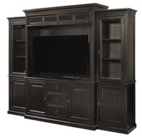 Country-Chic Maple Wood Black TV Entertainment Wall Unit