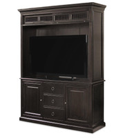 Country-Chic Maple Wood Black TV Stand with Hutch