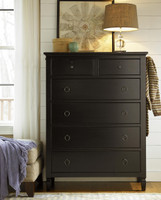 Country-Chic Maple Wood 6 Drawers Chest - Black