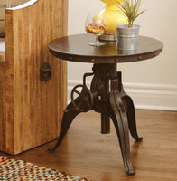 Black Iron Crank Side Table