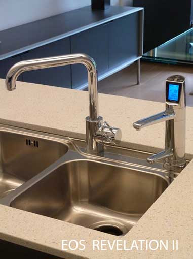EOS Revelation II set up in modern kitchen with stone bench