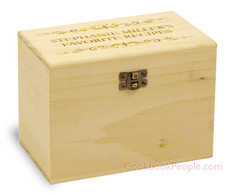 Classic Filigree Custom 4x6 Poplar Wood Recipe Card Box - Made in USA