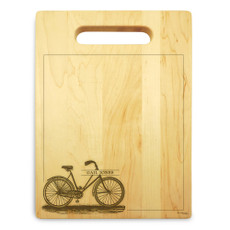 Bicycle 9x12 Engraved Cutting Board Featuring Handle Maple Wood