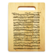 Beethoven 9x12 Small Engraved Cutting Board Handle Maple Wood