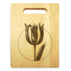 Tulip 9x12 Engraved Cutting Board Featuring Handle Maple Wood