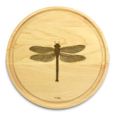 Dragonfly 10in Circle Maple Cutting Board with Juice Groove
