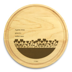 Garden Love 10in Round Maple Cutting Board with Juice Groove