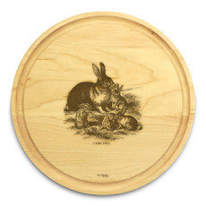 Rabbit Family 10in Round Engraved Cutting Board with Grooving