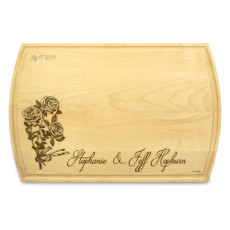 Rose Ribbon 10x16 Grooved Cutting Board