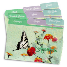 Cookbook People 4x6 Tabbed Recipe Card Dividers - Butterfly Garden - 9 ea