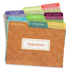 4x6 Tabbed Recipe Box Card Dividers - Agatha - 9 ea