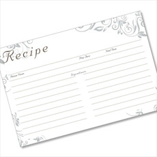 4x6 Recipe Card Silver Swirls Grey  40ea