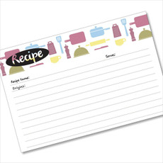 4x6 Recipe Card Kitchen Retro Purple Green 40ea