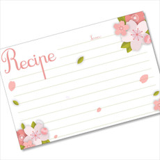 4x6 Recipe Card Pink Petals White 40ea