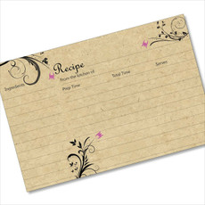 4x6 Recipe Card Three Purple Flowers on Black and Tan 40ea