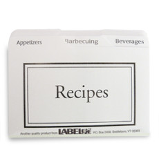 3x5 Recipe Box Tabbed Recipe Card Dividers - 24 ea