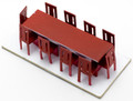 Scale Model Dining Table with 10 Chairs 1:50