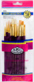 Royal Langnickel Super Value Pack White Bristle/Golden Taklon Brush Set of 10 Pieces No. SVP-8