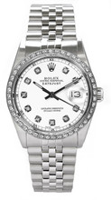 Rolex Men's Datejust Stainless Steel Custom Diamond Bezel & White Diamond Dial